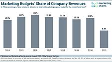 Gartner Marketing Budget Share Company Revenues 2014 2021 Aug2021 SM